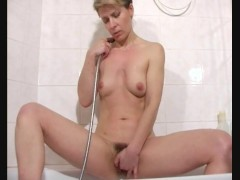 Mom in white undies stripping in bathroom