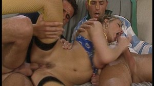 Blonde Nypho Takes On Two Cock