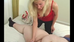 Cute blonde measuring small dick and handjob
