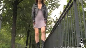 Voyeur upskirt in Paris see thru panties