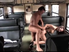 Super HOT Brunette fucked in the Train
