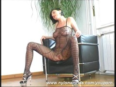 Brunette Eve in spider nylon