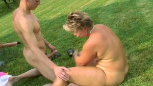 Blonde likes licking a dick