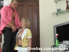 Mature maid fucked in the ass