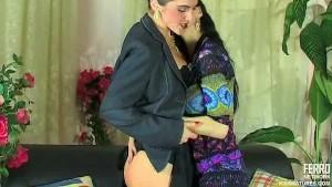 Sensual MILF/girl lesbian seduction