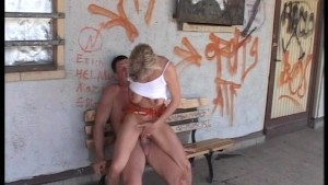 Blonde being bench pressed at