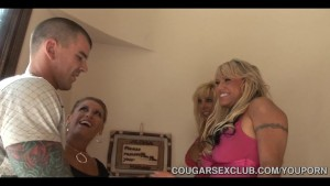 Three Hungry Cougars Ravish Big Dick