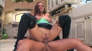 Anal in latex lingerie