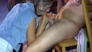 Sexy women suck cock in public