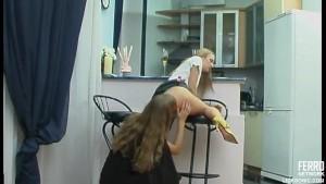Lesbian sweethearts kissing an