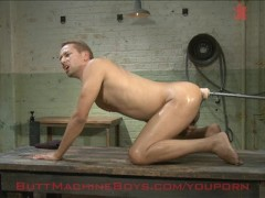 Hot guy getting fucked by machines!