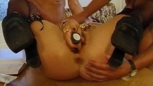 Silver balls on a rope in pussy