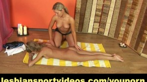 Lesbian yoga performed by two flexible girls