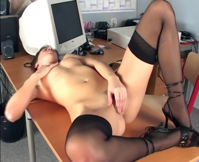 Rebeca has nerdy secretary masturbates