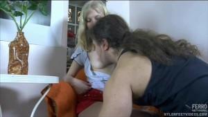 Cumming all over her nylon cla