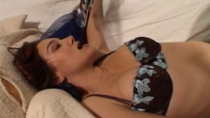 Cynthia strips in the bedroom