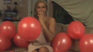 Naughty girl love popping balloons