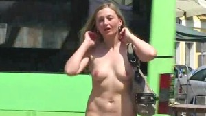 Sweet flasher in public street