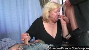Fat granny fucked by two guys
