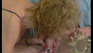Skinny blonde granny gets double penetrated by two young guys