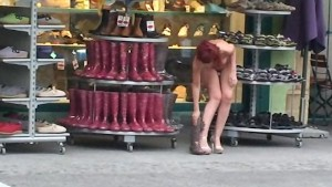Hot public nudity with red lol