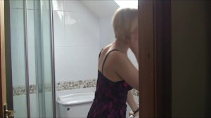 Milf In Stocking Bathroom Pussy Play