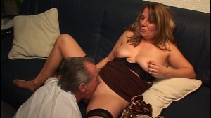 Grandpa cums in