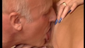 Flat chested girl brings older man to an orgasm