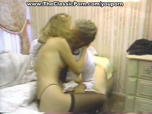 Vintage blonde riding big dick