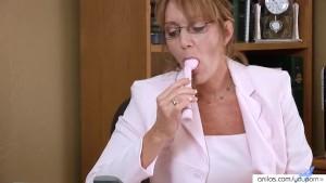 Horny secretary Samantha Stone masturbation