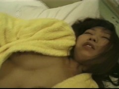 Naughty Japanese housewife eats cum