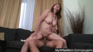 His fat shaft buried deep in his wife's mom