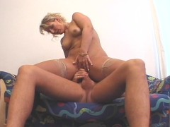 Smoking blonde gets nailed