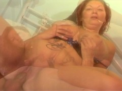 Tickling her twat with his cock
