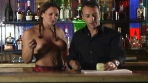 With topless barmaid who cares