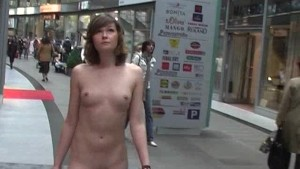 Nadine - Naked Babe Has Fun In Public Streets