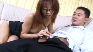 Asian Babe in Glasses Jerking Her Man Off - Pompie