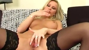 Blonde fingering her shaved pu