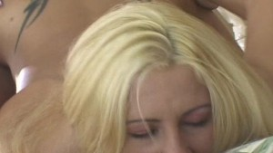 Sexy blonde shemale in action