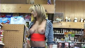 Store shopper with boobs hanging out