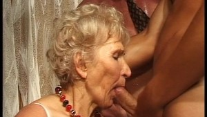 Granny has fun with three cock