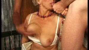 Granny has fun with three cocks