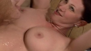 cum shot all over her boobs an