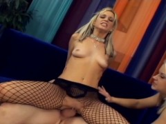 Picture Threesome in fishnet lingerie