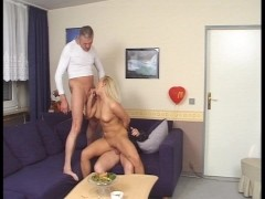 Younger lady fucks two mature men