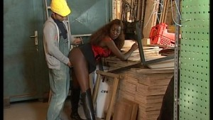 Wood shop worker sports his own wood for chocolate hottie