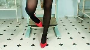 Nurse Adriana stretching pussy