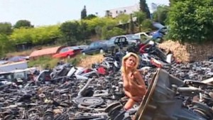 Chloe brightens up a junk yard