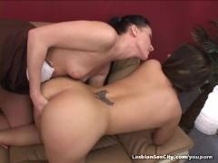 Two Pretty Girls Help Each Other Cum