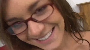 Cute amateur gets cum all over her glasses